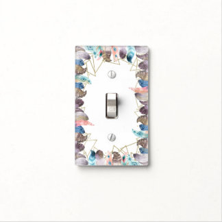 Boho Watercolor Feathers Gold Modern Glam Light Switch Cover
