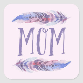 Boho Watercolor Feathers   Mother's Day Square Sticker