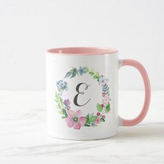 Boho Watercolor Floral & Butterfly | Monogram Mug