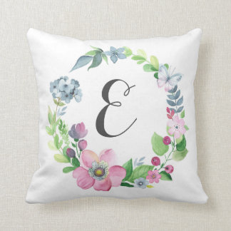 Boho Watercolor Floral & Butterfly | Monogram Throw Pillow