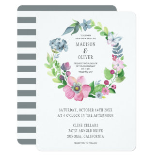 Boho Watercolor Floral & Butterfly | Wedding Card