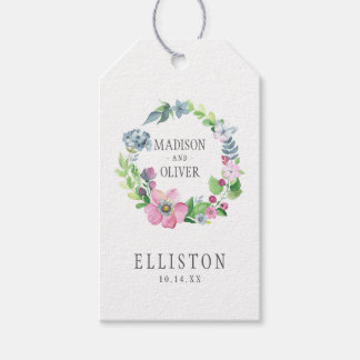 Boho Watercolor Floral & Butterfly | Wedding Pack Of Gift Tags