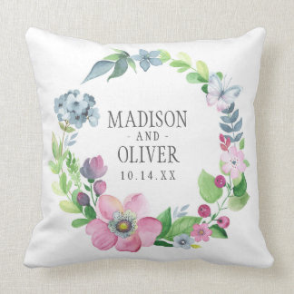Boho Watercolor Floral & Butterfly | Wedding Throw Pillow