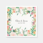 Boho Watercolor Floral Personalized Wedding Paper Napkin