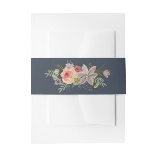 Boho Watercolor Floral Posy Belly Band Invitation Belly Band