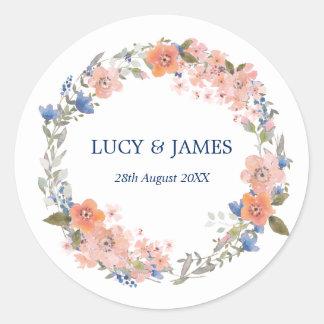 Boho Watercolor Floral Wreath Wedding Stickers