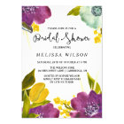 Boho Watercolor Flowers Bridal Shower Invitation