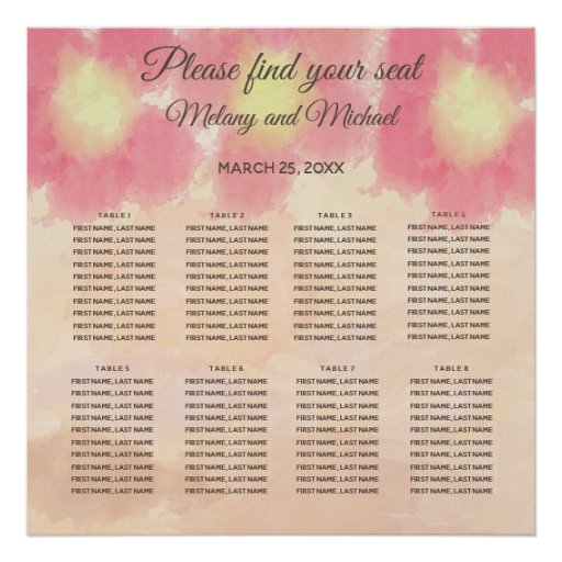 Boho watercolor flowers  wedding Seating Chart