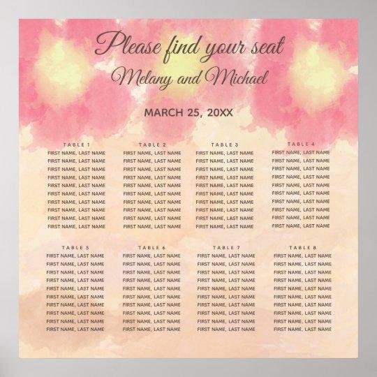 Boho watercolor flowers  wedding Seating Chart