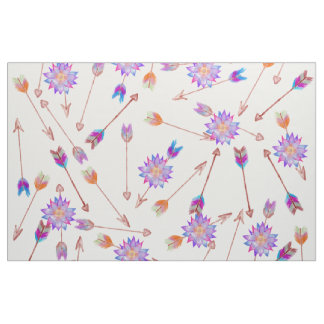 Boho Watercolor Hand Painted Flower and Arrows Fabric