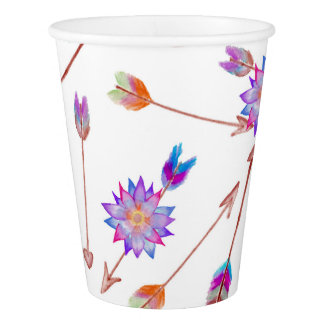 Boho Watercolor Hand Painted Flower and Arrows Paper Cup