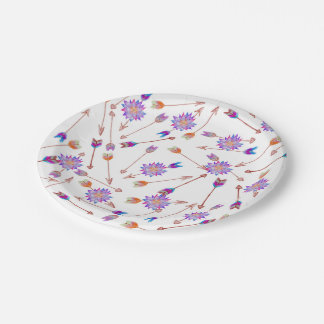 Boho Watercolor Hand Painted Flower and Arrows Paper Plate
