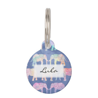 Boho watercolor paisley tribal elephants pattern pet name tag