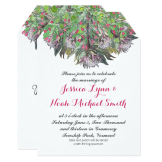 Boho Watercolor Pink Purple Green Floral Wedding Card