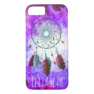 Boho Watercolor Space Nebula Dream Catcher & Name iPhone 8/7 Case