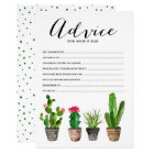 Boho Watercolor Succulents Advice for the Parents Card