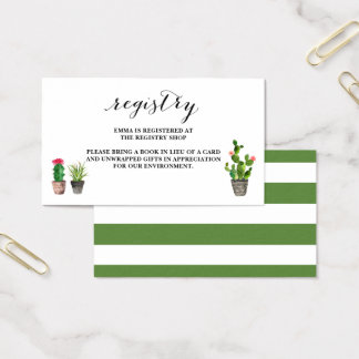 Boho Watercolor Succulents Baby Shower Registry Business Card