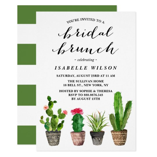 Boho Watercolor Succulents Bridal Brunch Shower Card