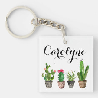 Boho Watercolor Succulents Custom Keychain