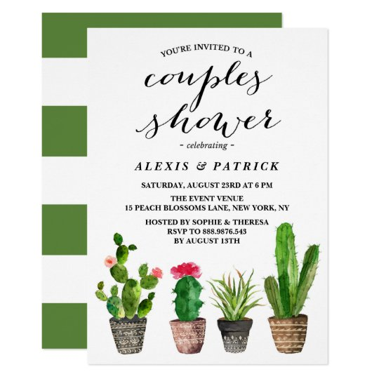 Boho Watercolor Succulents Floral Couples Shower Card