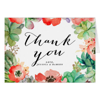 Boho Watercolor Succulents Floral Frame Thank You Card