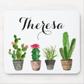 Boho Watercolor Succulents Personalized Mouse Pad