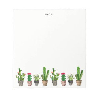 Boho Watercolor Succulents Personalized Notepads