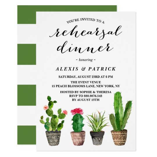 Boho Watercolor Succulents Rehearsal Dinner Card