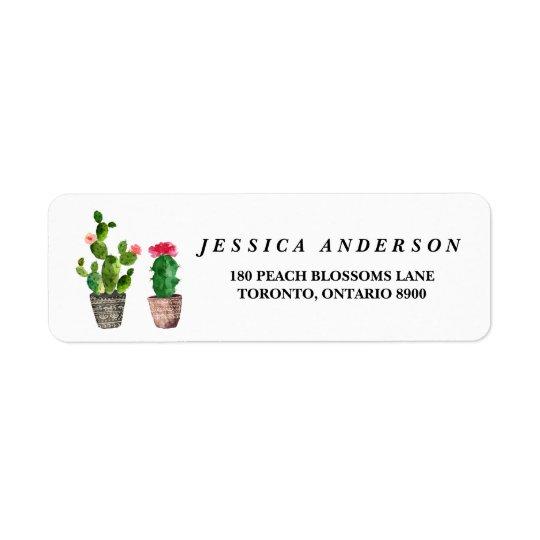 Boho Watercolor Succulents Rustic Address Label