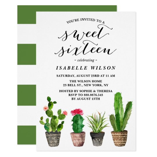 Boho Watercolor Succulents Sweet Sixteen Party Card