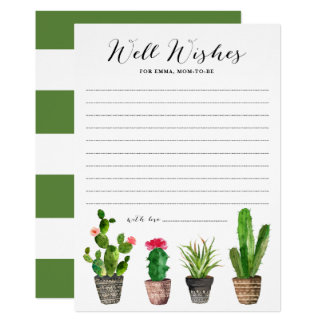 Boho Watercolor Succulents Well Wishes Baby Shower Card
