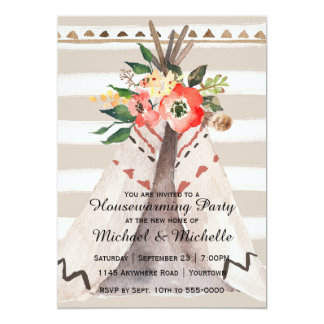 Boho Watercolor Teepee Housewarming Party Card