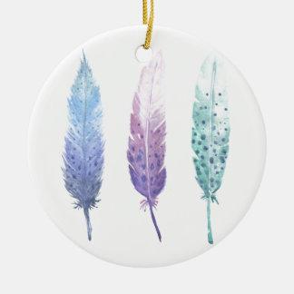 Boho Watercolour Feather Trio Ceramic Ornament