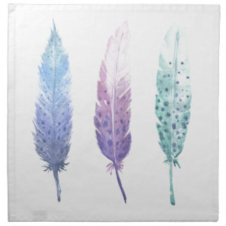 Boho Watercolour Feather Trio Napkin