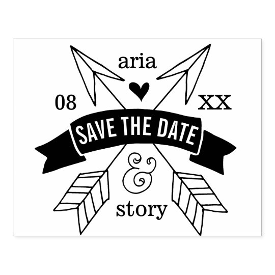 Boho Whimsy Save the Date Rubber Stamp