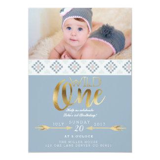 "Boho Wild One   First Birthday Party 5"" X 7"" Invitation Card"