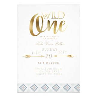 "Boho Wild One | First Birthday Party 5"" X 7"" Invitation Card"