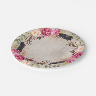 Boho Wood Grain Flowers and Feathers Paper Plate