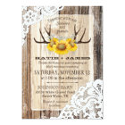 Boho Wood Sunflower Antlers Lace Rustic Wedding Card