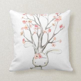 Boho Woodland Bunny Floral Baby Nursery Pillow