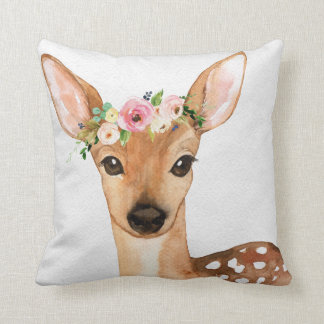 Boho Woodland Deer Baby Girl Nursery Floral Pillow