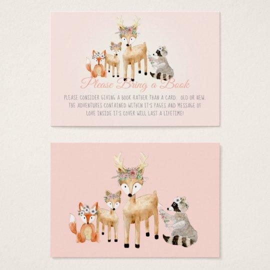 Boho Woodland Deer Raccoon Fox Book Instead Card