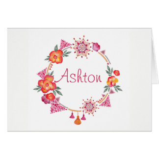 Boho Wreath Melon Magenta Green Card