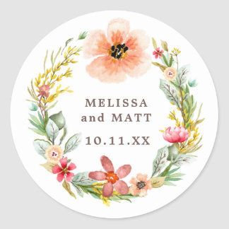 Boho Wreath Wildflower Watercolor Rose Wedding Classic Round Sticker
