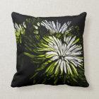 Boho Zen floral Lime green white Chrysanthemum Throw Pillow
