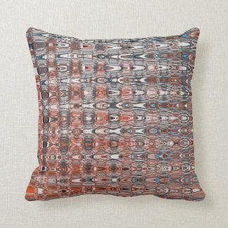 Boho Zigzag Millefiori Orange Navy Blue Abstract Throw Pillow