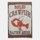 Boiled Crawfish Eaten Here and Towel