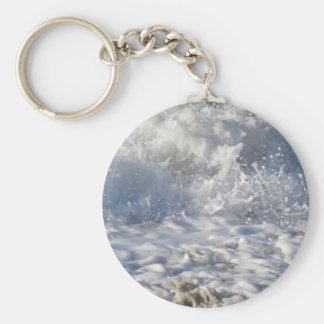 Boiling sea (Sennen beach nr Lands End) Basic Round Button Keychain