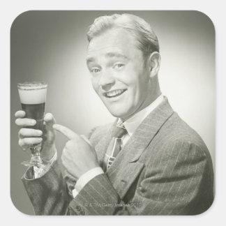 Boire d'homme sticker carré