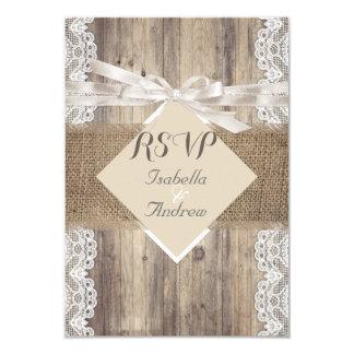 Bois blanc beige RSVP de dentelle de mariage Carton D'invitation 8,89 Cm X 12,70 Cm